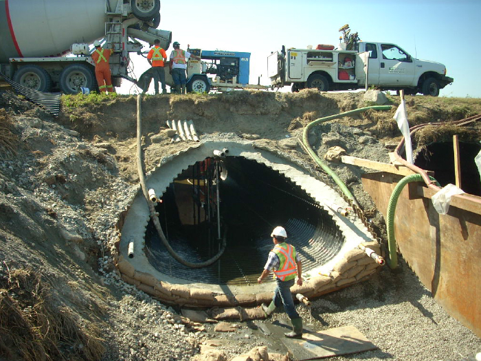 Pipe Culvert Lining : Cspi slip lining twin culverts eliminates road closure